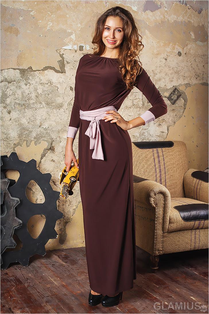 коричневое платье в горошек купить
