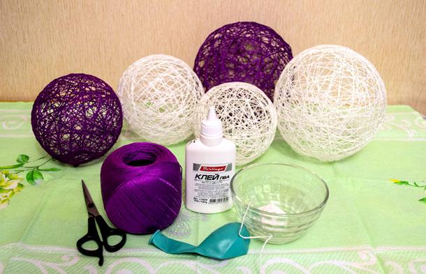 Как сделать шарик из ниток клея и воздушного шарика